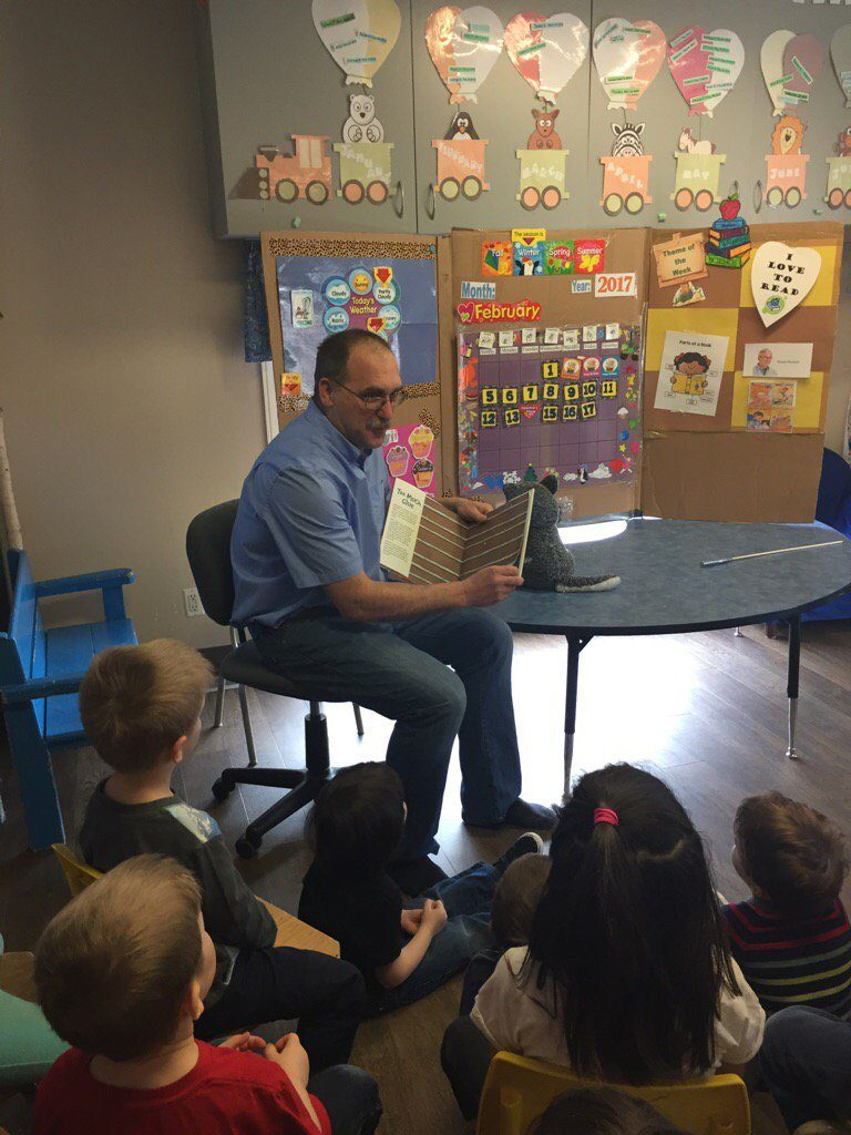 I Love to Read Month!  Fun group to read to at Peter Pan Daycare in Dauphin.
